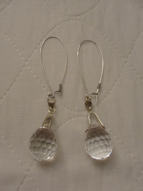 Vintage Swarovski Crystal Ball Drop 18k Gp Earrings